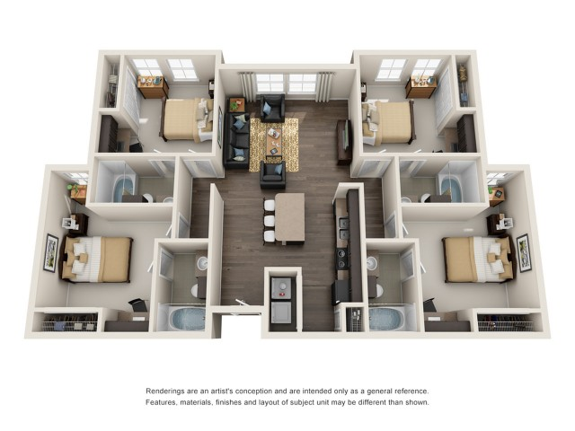 488 Bed 488 BathApartment In College Park MD Mazza GrandMarc Impressive 4 Bedroom Apartments In Maryland Plans