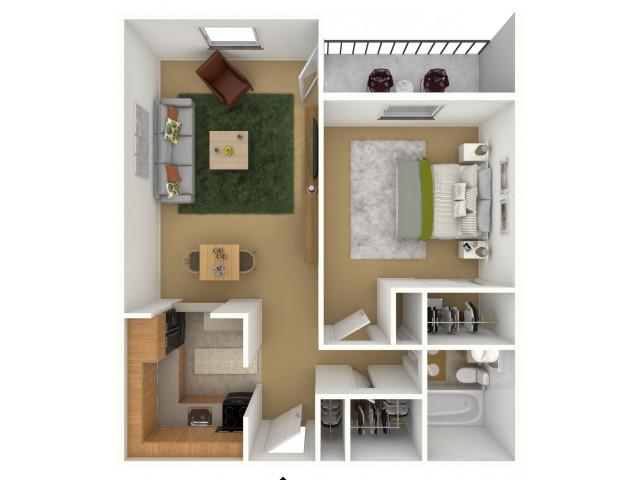 1 bedroom 1 bathroom B