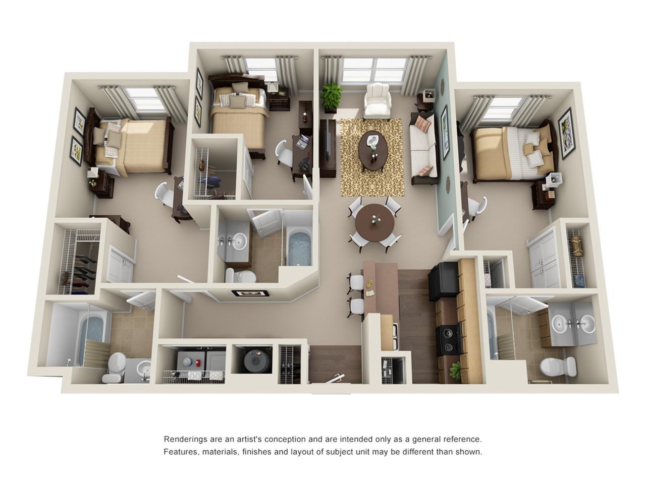 3 bedroom apartment in atlanta