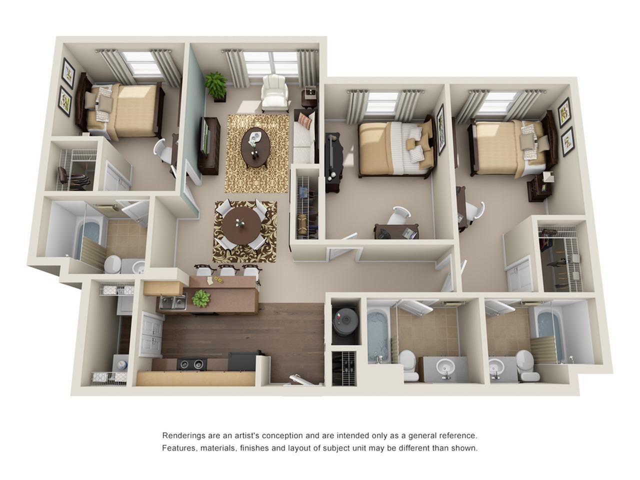 three bedroom apartments in atlanta