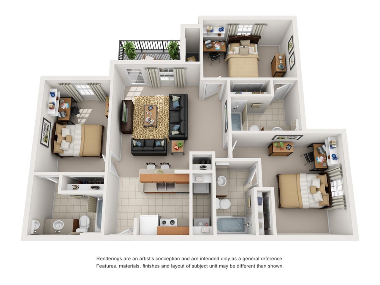 3 bedroom apartments tucson