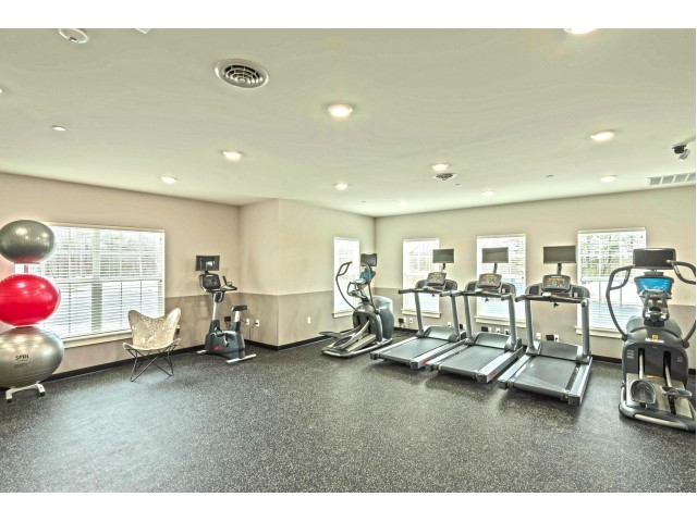 The fitness center at Van Allen Apartments