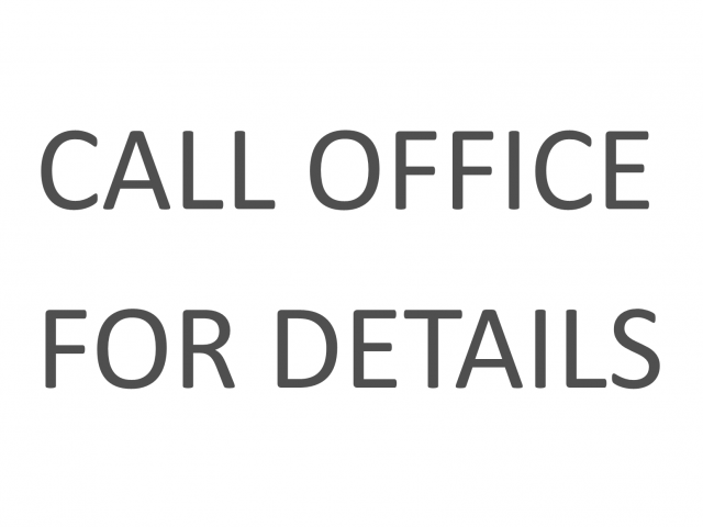 Call office for details.