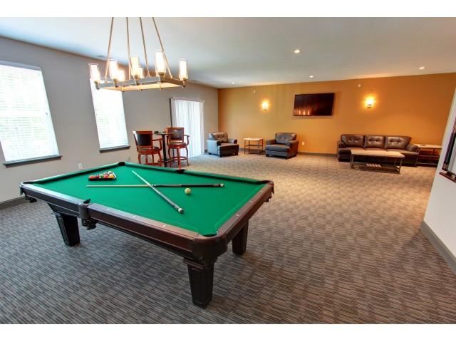 Carlton Hollow Apartments, interior, billiard room, comfortable seating