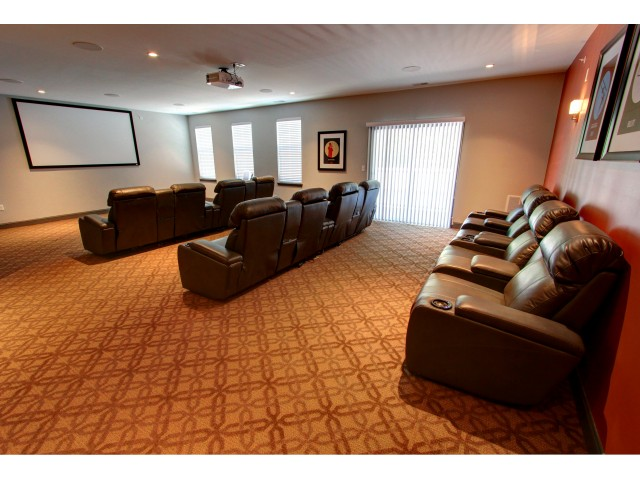 Carlton Hollow Apartments, interior, theater room, leather recliners