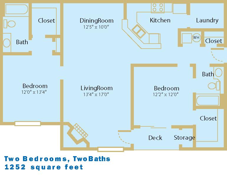 2 Bed / 2Bath, 1252sf