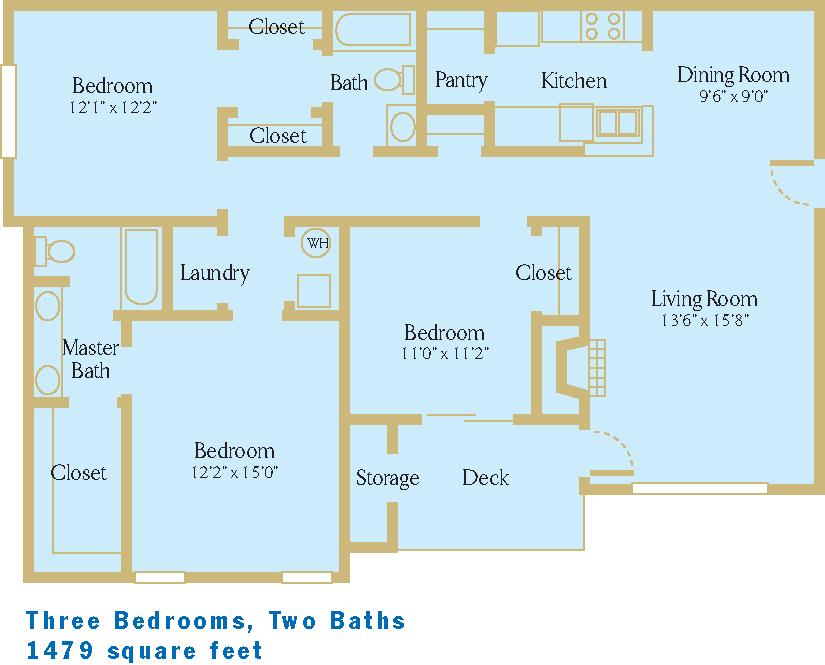 3 Bed / 2 Bath, 1479sf