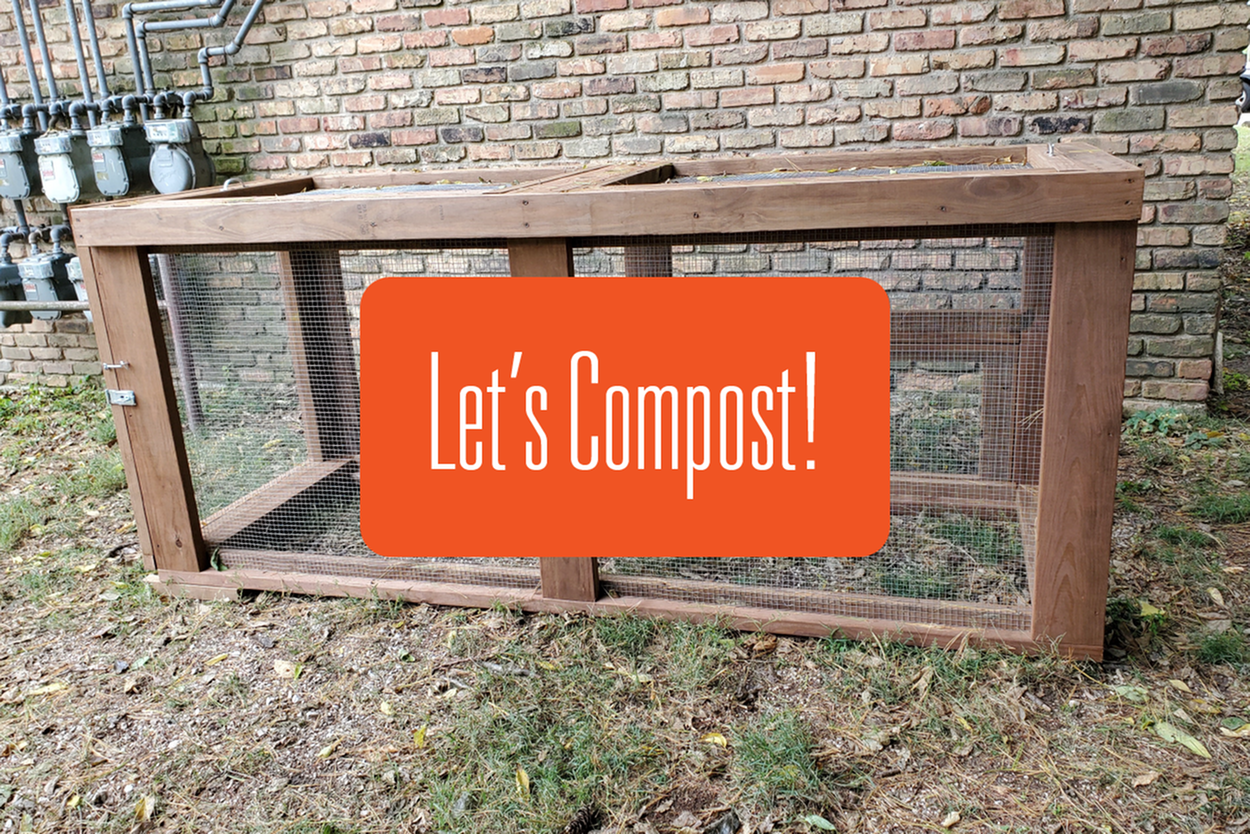 A photo of the new compost bin at 611 w. healey with a title card saying let's compost