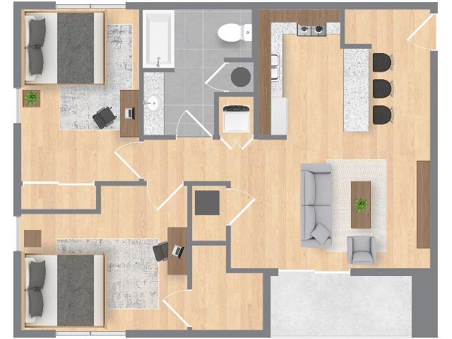 2 bedroom, 1 bathroom floorplan - 1 bedroom has a walk in closet