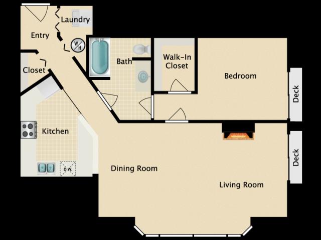 One bedroom One bath, C