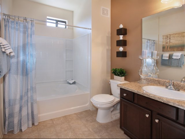bathrooms include tubs and showers rich cabinetry and solid surface countertops