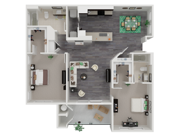 for the Two Bedroom Two Bathroom floor plan.