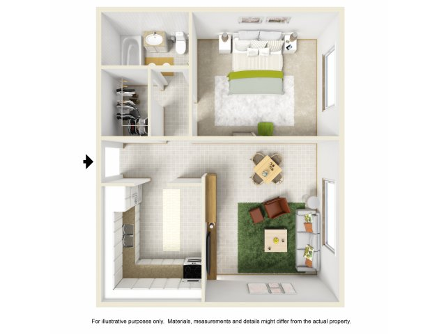 For The 1Bed / 1Bath Floor Plan.