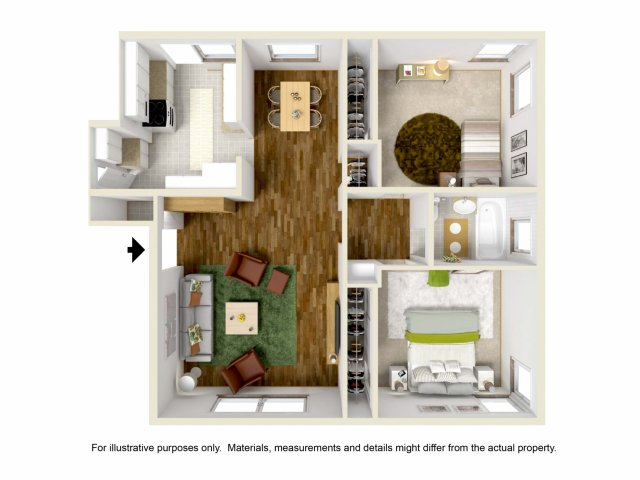 for the 2Bed   1Bath Flat floor plan. 2 Bed   1 Bath Apartment in Los Angeles CA   Wyvernwood Garden