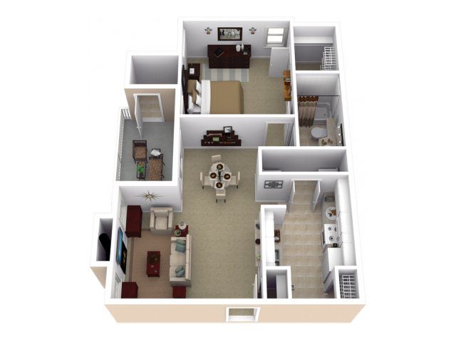 1 Bedroom Floor Plan | Slate Creek at Johnson Ranch 2