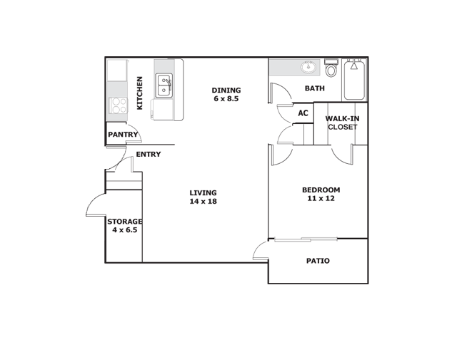 One Bedroom Apartments For Rent in ElPaso, Texasl Ridgemar Apartments
