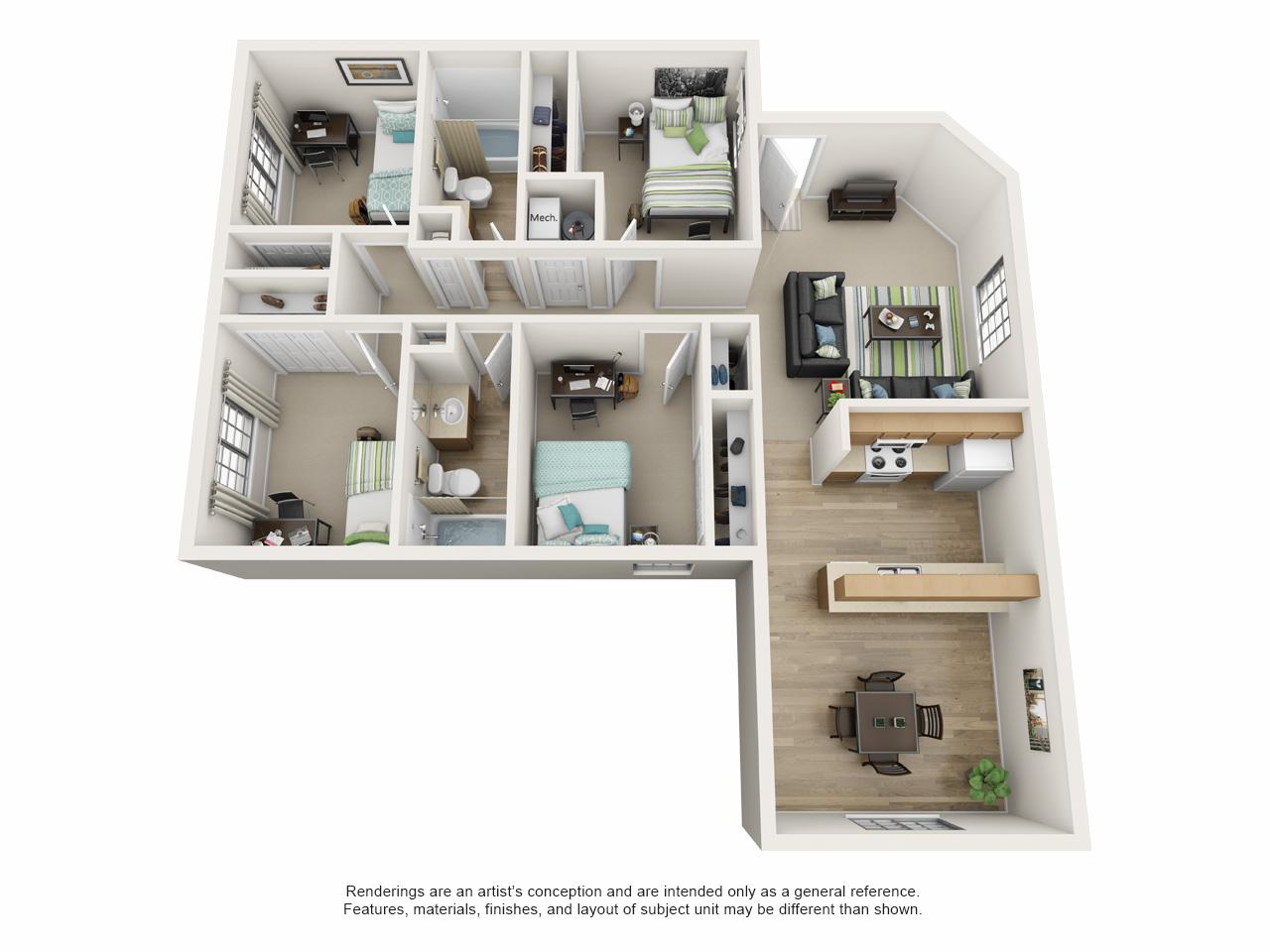 4 bedroom apartment floor plan