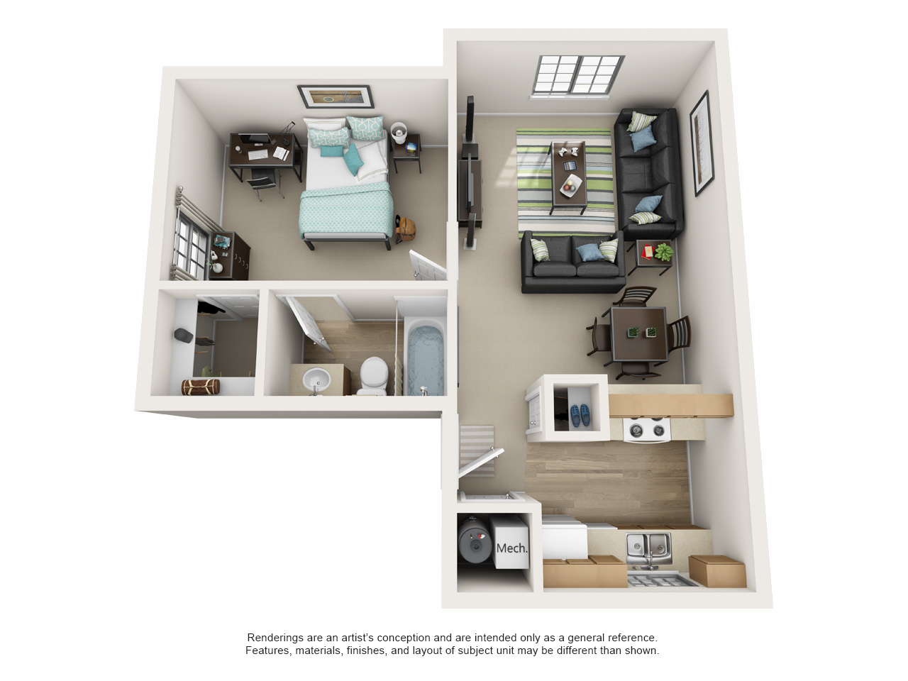 1 bedroom apartment floor plan