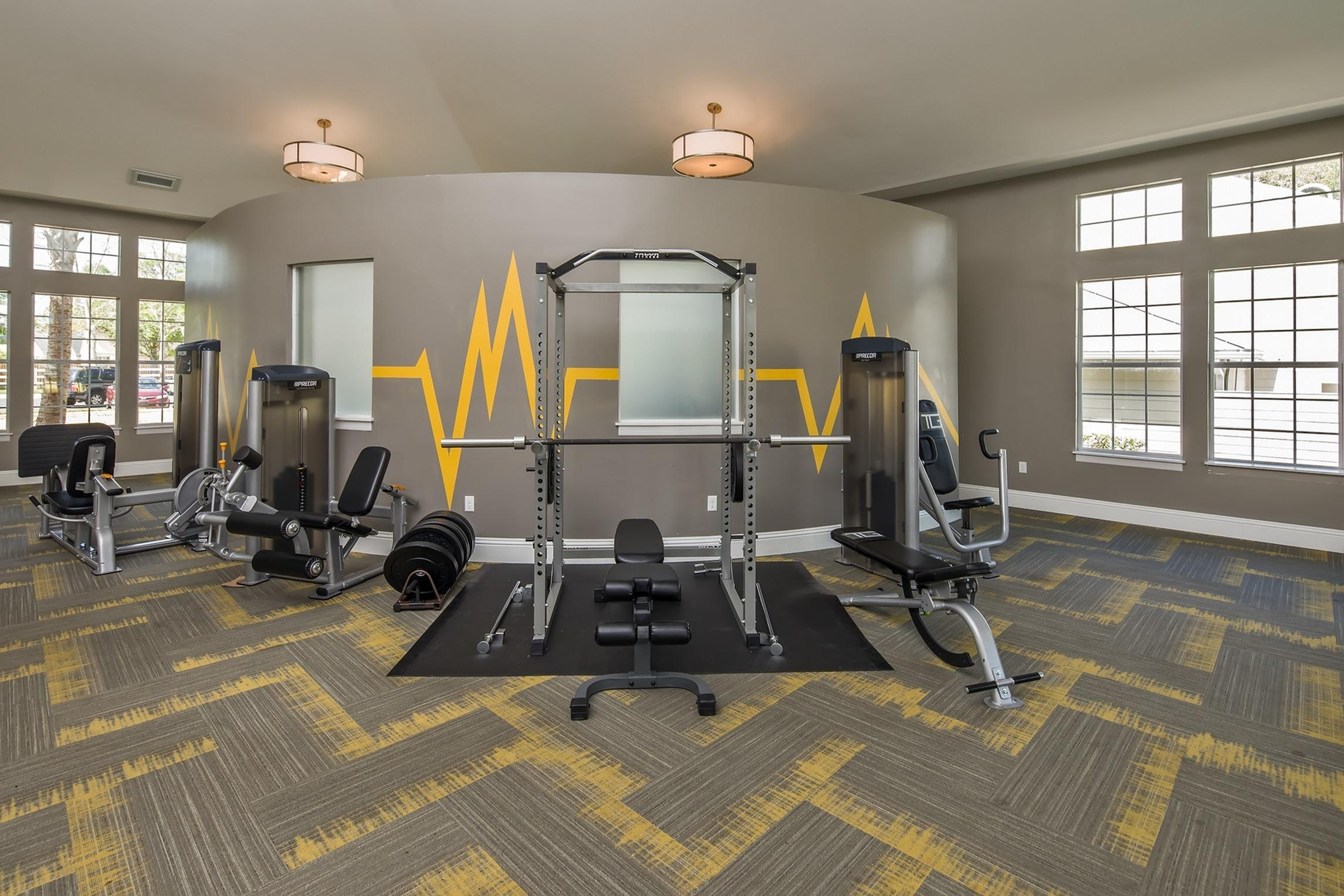 The Glenn-Interior | Fitness Center with weight machines