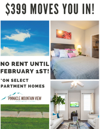$399 moves you in on 2 bedroom apartment homes! Move in TODAY and SAVE!