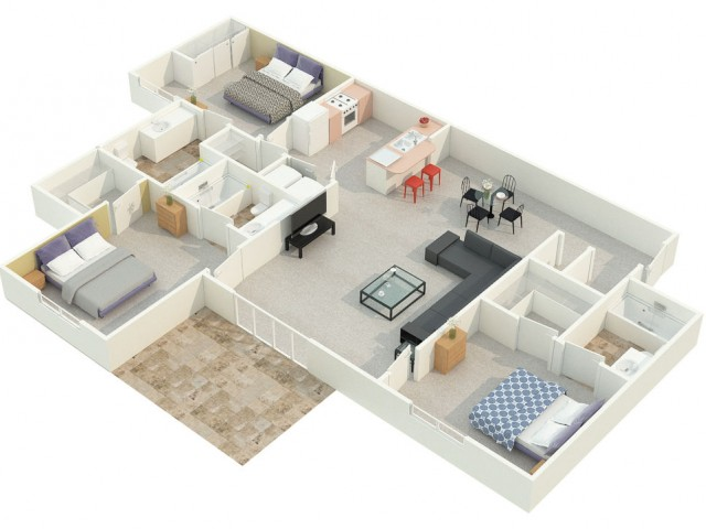 3 Bedroom 3 Bathroom apartment floorplan