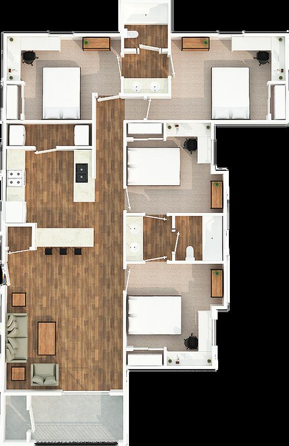 4 Bedroom 2 Bath C1