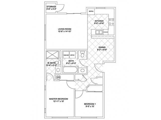 Two Bedroom, Two Bath