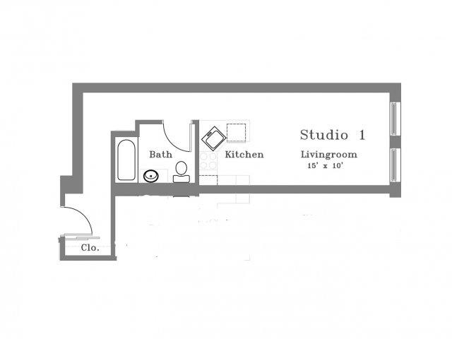 407 Studio C Floor Plan