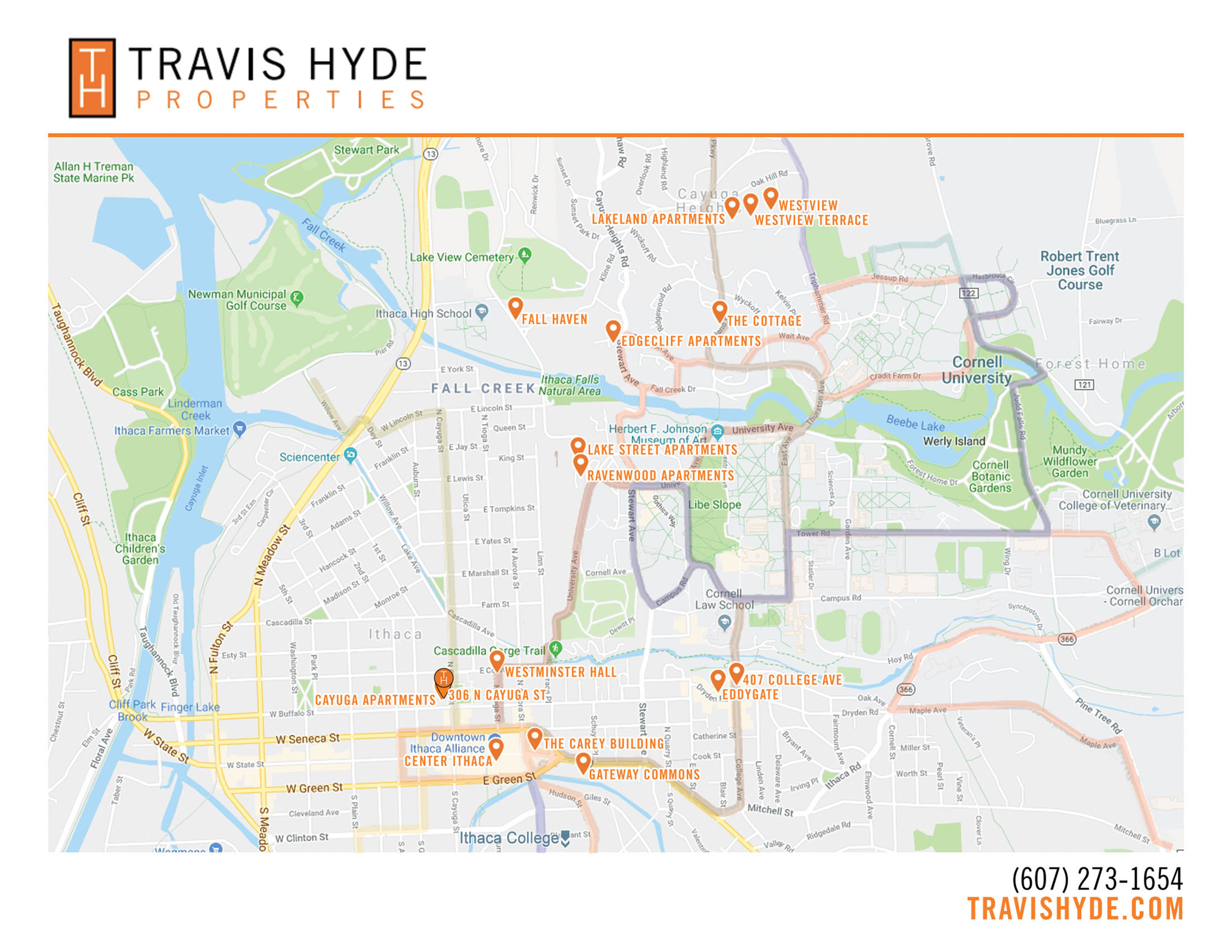 Travis Hyde Properties Ithaca Apartments Map