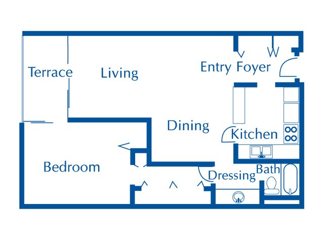 Van Buren 1 bedroom 1 bathroom apartments for rent floor plan Tucson, AZ