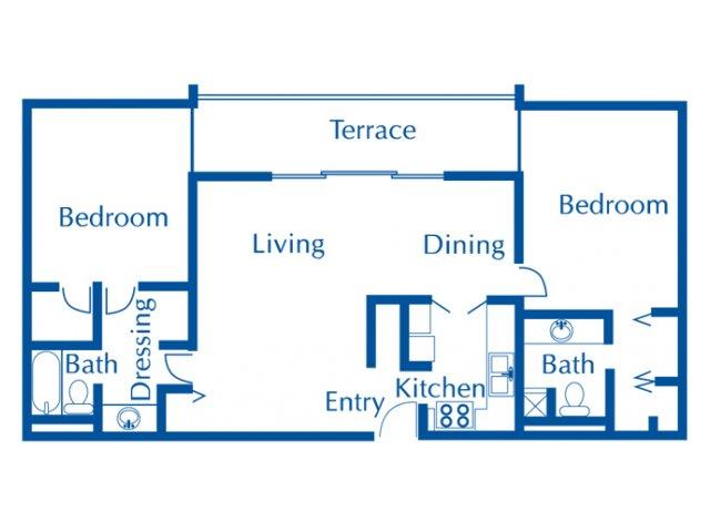 Van Buren 2 bedroom 2 bathroom apartments for rent floor plan Tucson, AZ