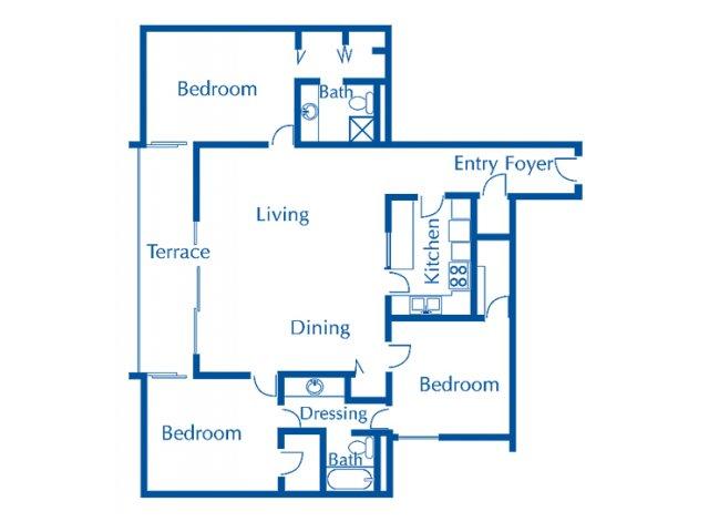 Van Buren 3 bedroom 2 bathroom apartments for rent floor plan Tucson, AZ