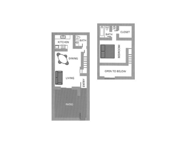 Townhomes on the Park 1 bedroom 1.5 bathroom apartments for rent floor plan Phoenix, AZ