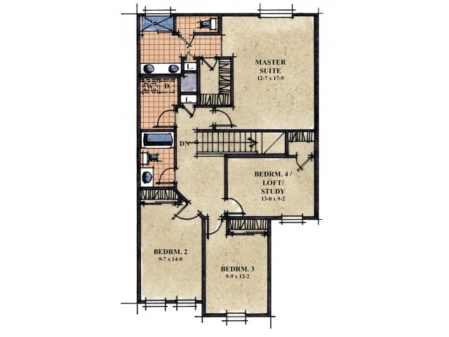 Galeria De Coronado Commons 4 bedroom 2.5 bathroom apartments for rent floor plan Sierra Vista, AZ