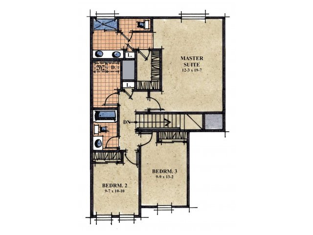 Galeria De Coronado Commons 3 bedroom 2.5 bathroom apartments for rent floor plan Sierra Vista, AZ