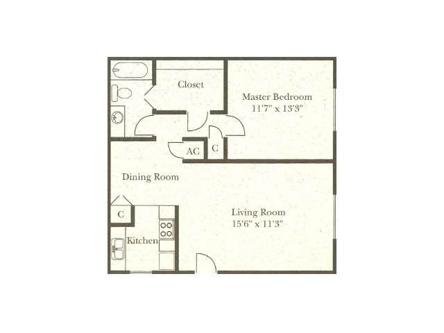 Wellington Estates 1 bedroom 1 bathroom apartments for rent floor plan San Antonio, TX