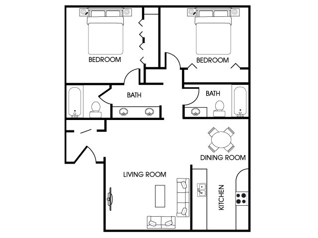 2 bed 2 bath apartment in flagstaff az aspen leaf for 2 bedroom 2 bath apartment floor plans