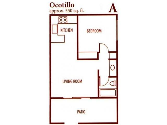 SunVilla 1 bedroom 1 bathroom apartments for rent floor plan Mesa, AZ