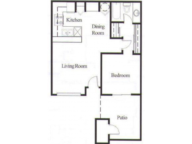 Avalon Hills 1 bedroom 1 bathroom apartments for rent floor plan Phoenix, AZ