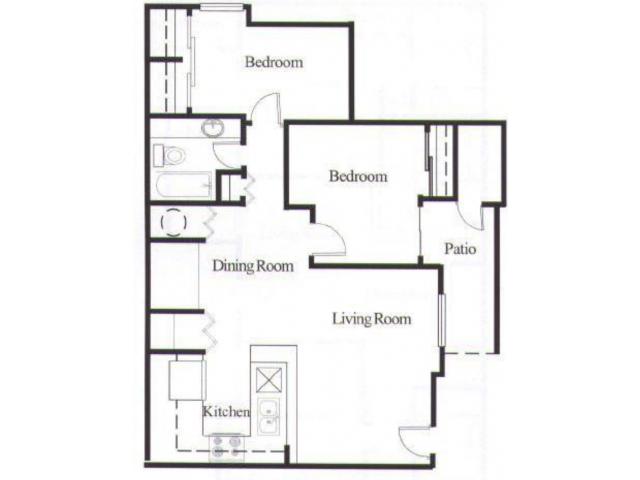 Avalon Hills 2 bedroom 1 bathroom apartments for rent floor plan Phoenix, AZ