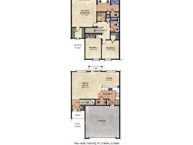 Galeria Del Rio 3 bedroom 2.5 bathroom apartments for rent floor plan Tucson, AZ