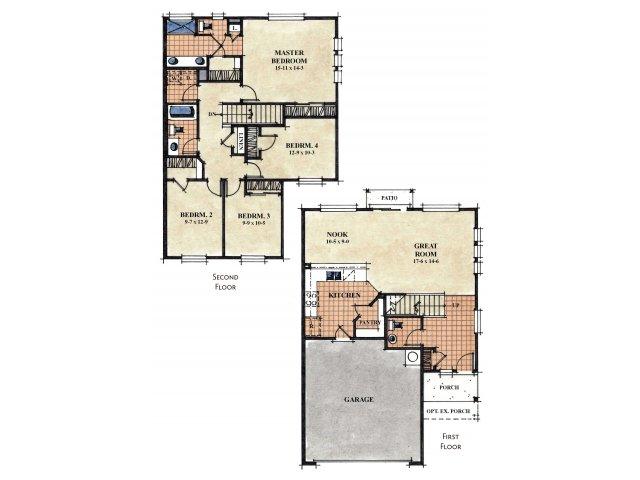 Galeria Del Rio 4 bedroom 2.5 bathroom apartments for rent floor plan Tucson, AZ