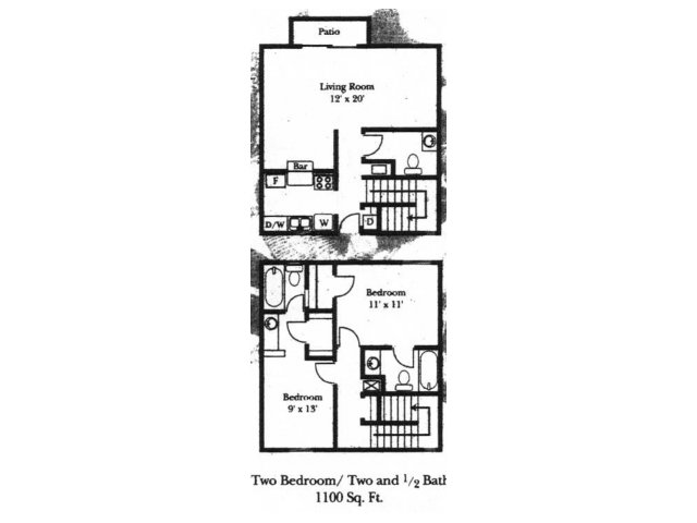 Wellington Estates 2 bedroom 2.5 bathroom apartments for rent floor plan San Antonio, TX