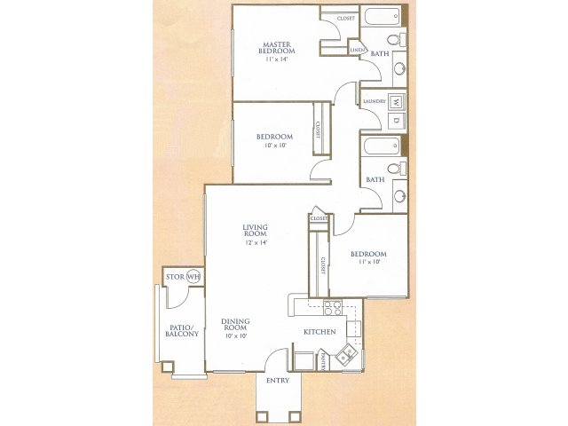Westover Parc 3 bedroom 2 bathroom apartments for rent floor plan Phoenix, AZ
