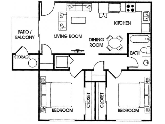 Acacia Pointe 2 bedroom apartments for rent floor plan Phoenix, AZ