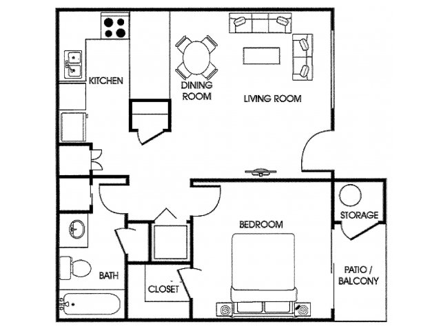 Acacia Pointe 1 bedroom Apartments for rent floor plan Phoenix, AZ