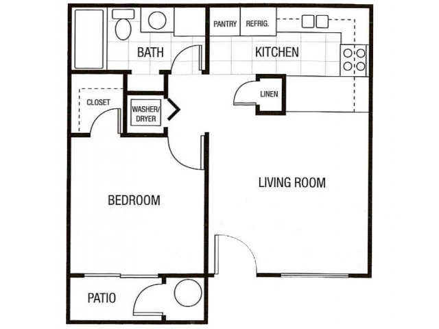 Sunset Landing 1 bedroom 1 bathroom apartments for rent floor plan Glendale, AZ