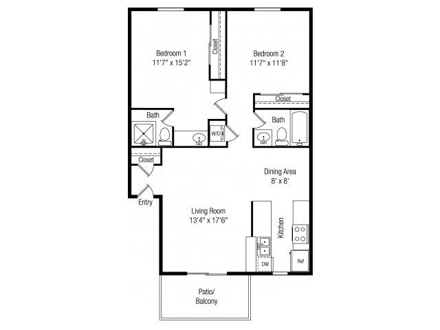 Papago Crossing 2 bedroom 2 bathroom apartments for rent floor plan Phoenix, AZ