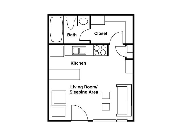 Studio & 1 Bedroom Apartment Floor Plans