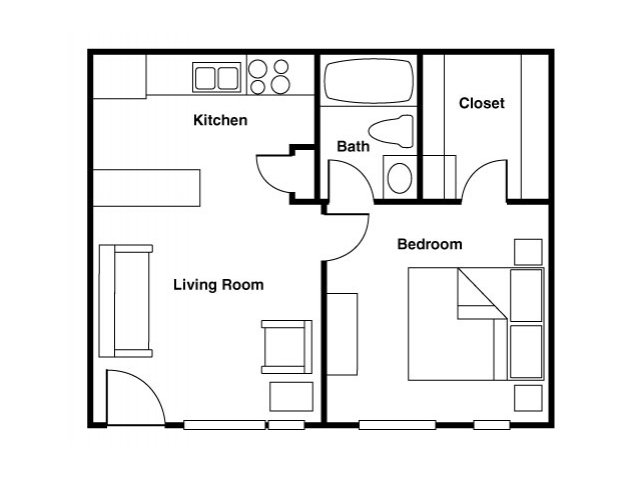 For The Furnished One Bedroom Apartment Floor Plan.
